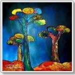 acryl op 3D doek 100 x 100 cm verkocht
